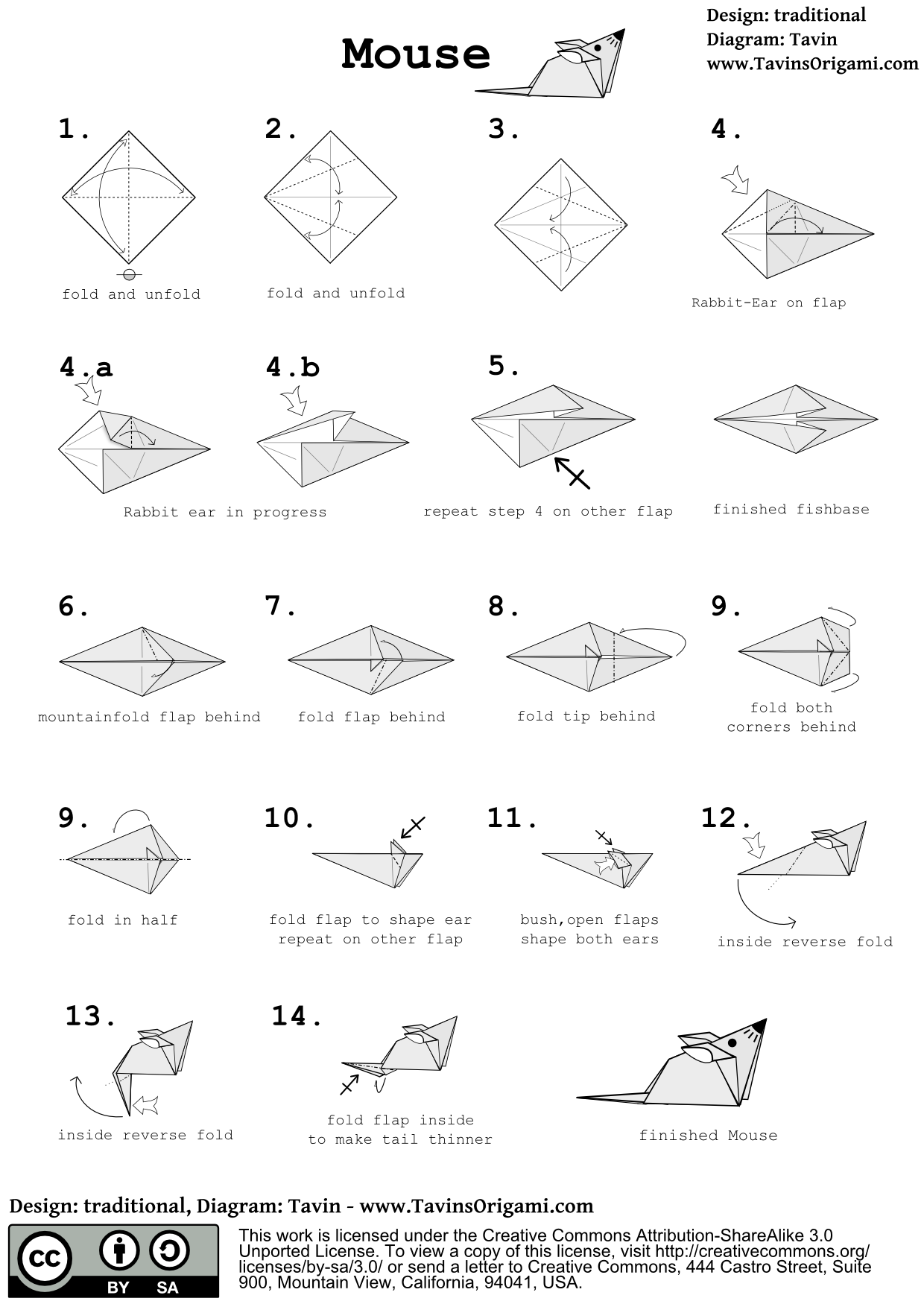Origami Mouse Instructions - Tavin's Origami - photo#50