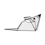 image of a mouse in origami diagram style