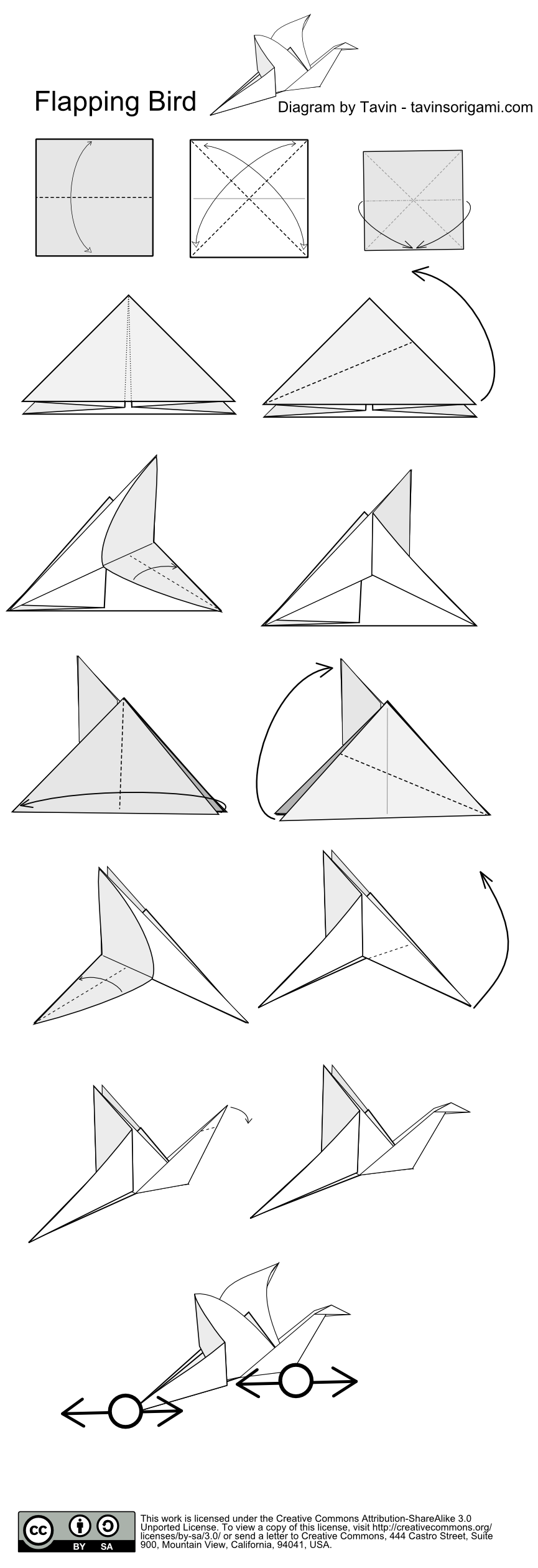 Flapping Bird Origami Instructions Tavins Diagram Of The